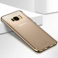 Handy Hülle Schutz Case für Samsung Galaxy S7 Durchsichtig Transparent Gold Neu