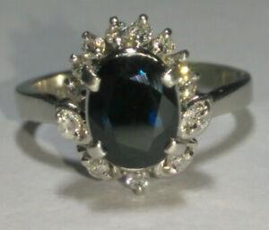 Solid platinum natural offset sapphire diamond layering ring 5.24 grams - sz 4