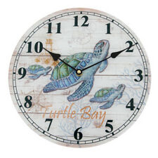 Turtle Bay Round Hanging Glass Wall Clock Battery Operated Approx. 11-3/4in Gift