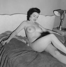 1960s Pinup Mature Nude Ann Peri Lying down in bed 8 x 10 Photograph