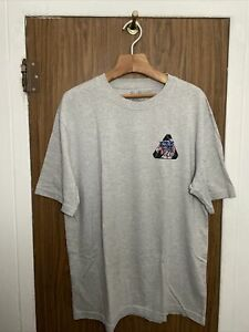 PALACE SKATEBOARDS RIPPED T-SHIRT GREY MARL SIZE LARGE PREOWNED