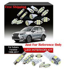 White LED Interior Package kit + License Light LED For Subaru Forester 1998-2017