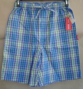 NWT IZOD Mens M 32 34 OASIS PLAID Woven Sleep Shorts Cotton Pajamas