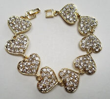 Beautiful Sparkle White Crystals Cute Gift Hearts Lady Girls Gold Charm Bracelet