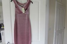 Top Shop LOVE Range Dusty Pink Bardot Style Velour Shift Dress  new with tags XS