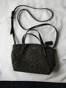 'COACH' New York {Charlie} (Charcoal shoulder carryall Purse)
