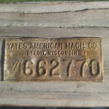 RARE VINTAGE YATES AMERICAN MACHINE COMPANY WOODWORKING MACHINERY NAME PLATE!!!