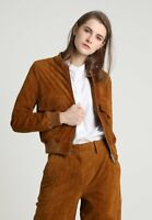 Brown Suede Bomber Leather Jacket Women Size XS S M L XL XXL 3XL Custom Made