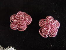 2 PINK COLOURED BEADED FLOWERS FOR CRAFT PROJECTS