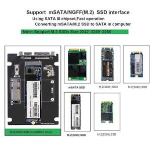 2 in 1 mSATA to SATA NGFF M.2 to SATA3 Converter Adapter Card SSD Disk for PC