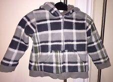Charmant Garçon Veste à capuche, gris à carreaux, taille 12-18 mois, excellent état