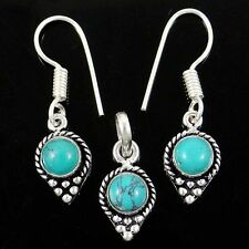 Silver Plated Earring Pendant Women Fashion Jewellery Turquoise Stone Jewelry
