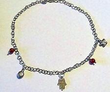 Bracciale cavigliera ciondoli charms argento 925 e vero corallo rosso NUOVO