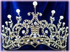 BIJOU MARIAGE DIADEME Miss Sud de France cristal perles mariée ton or doré