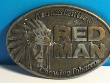 VINTAGE RED MAN BELT BUCKLE MENS CHEWING TOBACCO ADVERTISING 1988 BIG CHIEF USA