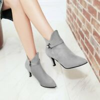 Metal Decor Pointed Toe Winter Womens Chic Stiletto Heels Work Dress Ankle Boots