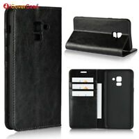 Luxury Genuine Leather Wallet Flip Case Stand Cover For Samsung Galaxy A8 2018
