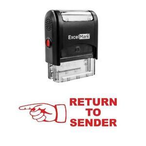Left Finger RETURN TO SENDER Stamp - Self-Inking / Red