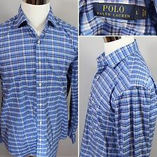 Recent POLO Ralph Lauren  Shirt Mens L Blue Plaid Check Button Down