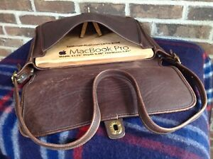 VINTAGE 1970's DISTRESSED COFFEE BROWN THICK GLOVE LEATHER BRIEFCASE BAG R$998