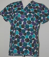 Women Medical Nurse Hospital Uniform Black Daisy Print Scrub Top