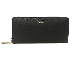 New Kate Spade Margaux Black Leather Slim Continental Zip Around Wallet NWT $158