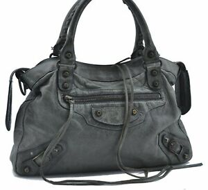 Authentic BALENCIAGA The Town 2Way Shoulder Hand Bag Leather 240579 Green E2635