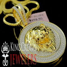 Men 14K Yellow Gold Over Sterling Silver Lion Head Lab Diamond Pendant Medallion