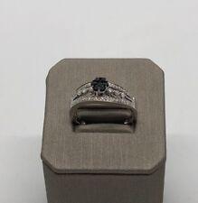 14k White Gold Black And White Diamonds Ring