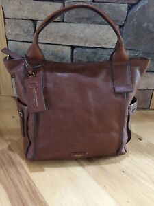 FOSSIL EMERSON  Large Brown Leather Satchel Tote Purse Crossbody Messenger Bag