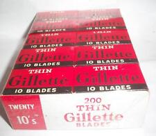 200 gillette thin Double edge Safety Razor Blades  box nos 20 10s store display