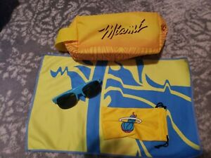Miami Heat Vice Wave Bundle Toiletry Bag Sunglasses Bench Towel Limited Edition