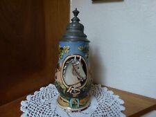 """Antique Gesetzlich Geschützt lidded stein with horse & rider 9 3/4"""" high w/lid"""