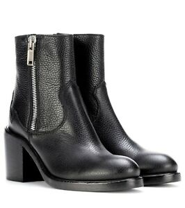 McQ Alexander McQueen Brand Italy Clapton Zip Peppled Leather Boots Size 41 NEW