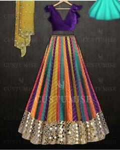 Lengha Choli Indian PartyWear Lehenga Choli Embroidered Paper Mirrors Skirt Sari