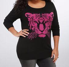 Torrid Tiger Drop Shoulder Sweater Pink Black Size:  1 1X 14 16 #23199