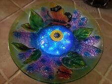 "Solar Butterflies Glass 18"" Birdbath with twinkling blue lights!"