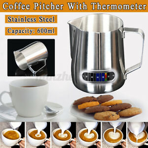 Coffee Latte Pitcher Frothing Milk Frother Jug With Thermometer Stainless