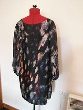 MONSOON 100% SILK BLOUSE 14 BLACK MULTI LONG SLEEVE LONG LENGTH TOP SHORT DRESS