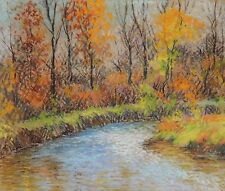LISTED Albert Greene Impressionist Peaceful Creek OLD Oil Pastel Painting NO RES