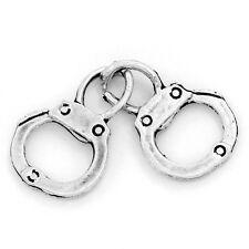8 Hand Cuffs Charms Pendant 32 x 12 mm Tibetan Silver Jewellery Police