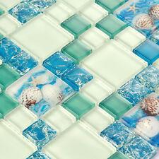 Bathroom Wall Tile Shell Mosaic Tile Blue White Mosaic Kitchen Backsplash (11PCS