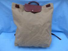 Longchamp Le Pliage Beige Camel Nylon Leather Trim Backpack Rucksack Medium
