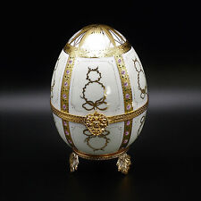 "Faberge Limoges Porcelain Egg 7"" w/ 24k Gold Decorations"