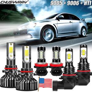 For Mitsubishi Lancer 2008 2009 2010-2015 Combo LED Headlights Fog Light Bulbs