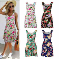 New Women Summer Sleeveless Floral Evening Party Beach Short Mini Dress Sundress