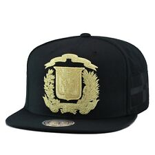 Mitchell & Ness Dominican Republic Snapback Hat Cap All Black/GOLD Emblem