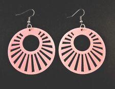 Round Pink Lightweight Wood Laser Cut Dangle Fashion Earrings - # 368