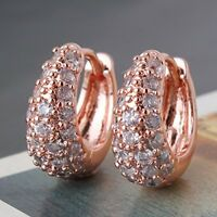 Exquisite 18K Rose Gold Plated Round Crystal Hinged Huggie Hoop Earrings Jewelry