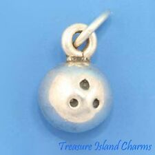 BOWLING BALL SOLID 3D .925 Sterling Silver Charm